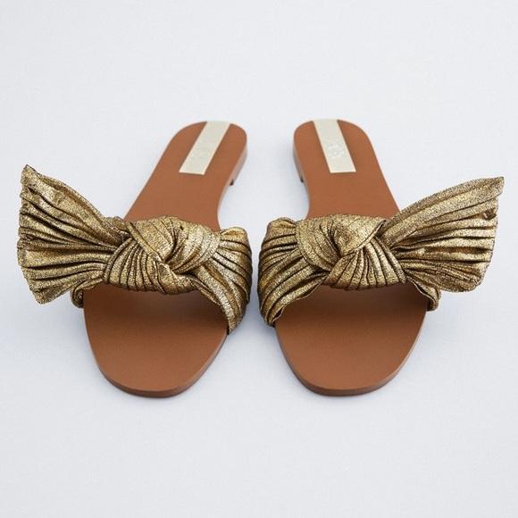 Zara Flat Sandals with Gold Metallic Bow